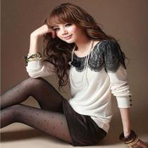 2013秋装新款韩版女装女圆领T恤打底衫蕾丝宽松大码t恤女长袖上衣 价格:45.00