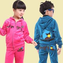 童装 女童2013秋装新款 中大童衣服男童套装 儿童天鹅绒运动套装 价格:69.00