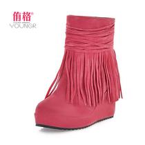 2013秋冬新正品包邮流苏靴韩版甜美女鞋水台厚底短靴坡跟踝裸靴子 价格:58.00