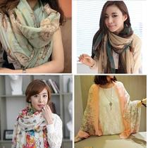 多款超大超长180CM大尺码青花瓷闹钟巴厘纱披肩纱巾韩国女士围巾 价格:7.50