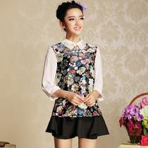 [XF5658C]2013春装新品精灵狂欢数码印彼得潘钉珠领雪纺衫女 价格:139.00