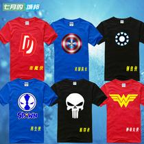 美国超级英雄t恤短袖男女生 美国队长钢铁侠夜魔侠惩罚者神奇女侠 价格:32.00