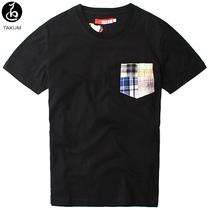 夏日单品简约时尚暇步士百搭撞色屋塔房王世子口袋男士短袖T恤 价格:44.50