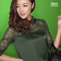 女式长袖T恤衫 透明蕾丝上衣打底衫女t恤 女 打底秋衣女款长袖 价格:95.00