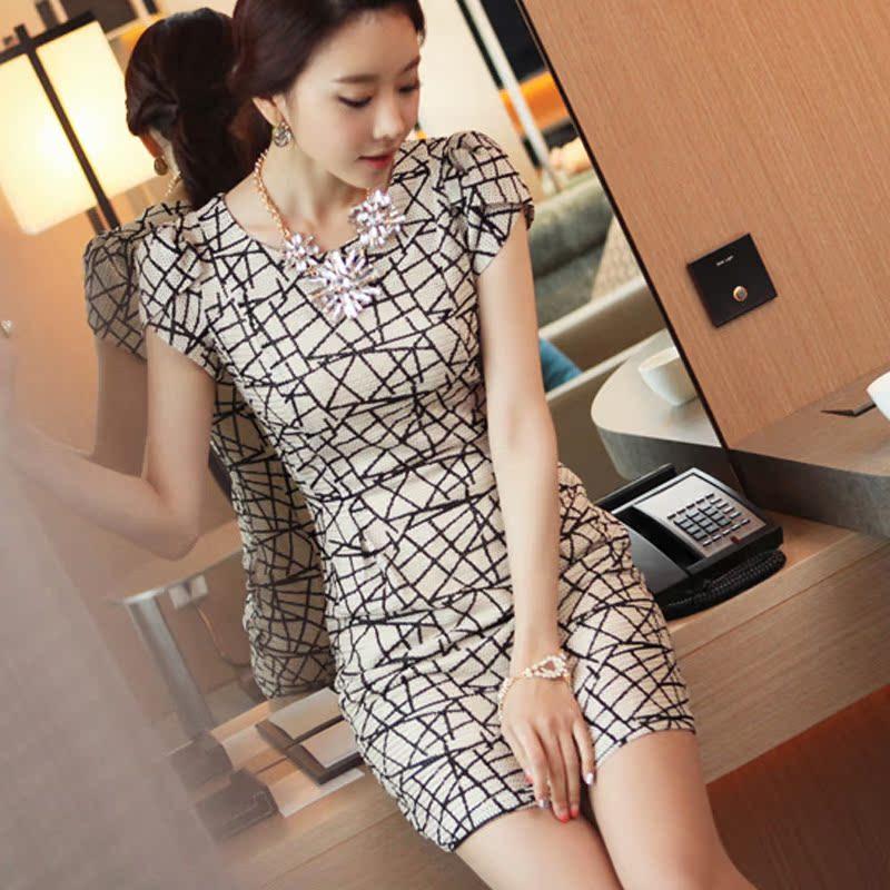 2013夏装新款韩版女连衣裙VS正品修身气质显瘦包臀连身裙短袖裙子 价格:59.00
