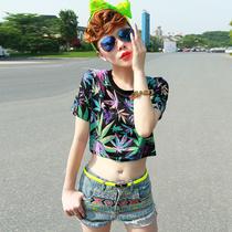 Ms.y2013夏女装新款欧美范经典潮流印花超短露脐装短袖T恤女 6折 价格:53.40