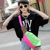 韩版新款腰包胸包情侣荧光色糖果色彩色女包男包小包绸布帆布包 价格:49.00