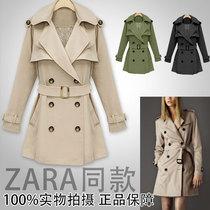 出口原单 秋冬装韩版风衣外套双排扣中长款显瘦休闲大衣女士风衣 价格:169.00