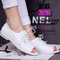 2013夏季新款真皮系带平跟鱼嘴镂空女鞋子 韩版潮低帮凉单鞋 价格:95.00
