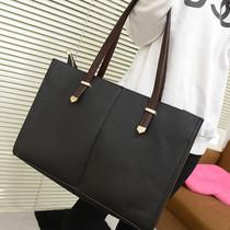 2013新款潮包 简约休闲黑色大包包 手提单肩包欧美复古包仿皮包女 价格:55.00
