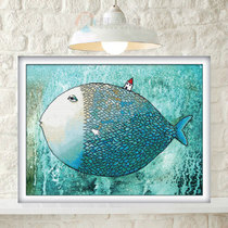 精准印花丝线3D阿兰贝尔十字绣卡通大鱼小房子儿童房包邮D1387 价格:28.00