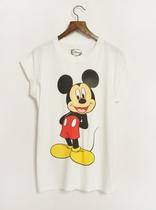 欧美原单 纯棉卡通复古米老鼠米奇印花卷边短袖圆领T恤 女大码 价格:35.00