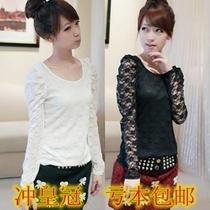 包邮 秋冬女款韩版小衫甜美 修身显瘦性感蕾丝上衣打底衫 长袖T恤 价格:9.90