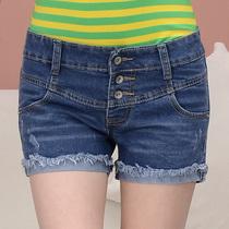 2013夏装新款 高腰韩版卷边毛边排扣蓝色修身 女 时尚牛仔短裤 价格:45.00