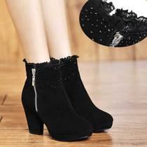 裸靴粗跟高跟真皮短靴女鞋牛皮防水台蕾丝花边水钻女靴大码小码33 价格:168.07