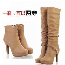 2013秋冬季欧美新款时尚两穿女靴子高跟细跟圆头防水台高筒长靴 价格:89.91