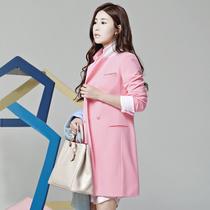 2013秋装新款独家定染 韩版修身女士休闲西服 中长款粉色西装外套 价格:288.00