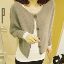 包邮 2013秋装新款女装韩版蝙蝠袖宽松两穿毛衣外套针织衫女开衫 价格:39.00