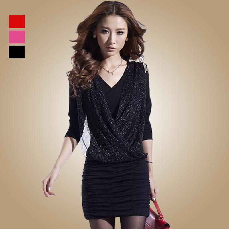 秋季新款针织长袖显瘦包臀裙  夜店性感气质修身褶皱连衣裙 包邮 价格:149.00
