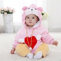 原创天鹅绒儿童韩版棉衣宝宝戴帽罩衣外出服秋冬加棉外套童装包邮 价格:70.80
