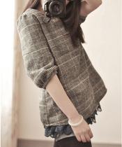 日系高品质蕾丝下摆拼接格子复古公主泡泡袖宫廷风娃娃衫T恤女 价格:59.00
