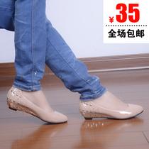 韩版秋包邮铆钉漆皮水钻裸色坡跟单鞋中跟尖头女鞋子休闲OL工作鞋 价格:35.00