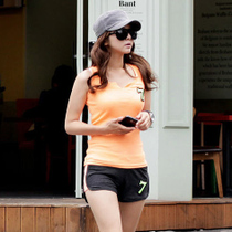 纯棉精品 夏季大码休闲运动服纯棉圆领背心短裤两件套运动套装 女 价格:59.00