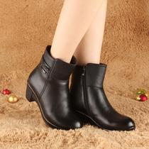 冬季新款红蜻蜓女棉鞋 真皮羊毛坡跟短靴女靴 粗跟大码女棉鞋女鞋 价格:180.00