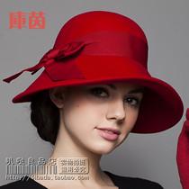 库茵 绝美 新款秋冬季帽子女士帽子秋冬英伦时尚毛呢圆顶礼帽复古 价格:78.00