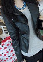 亏本特价2013新款韩版女装欧美早春秋干练双层领皮衣女短款小外套 价格:900.00