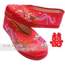 民族风缎面绣花鞋/平跟千层底圆头平底单鞋家居鞋/秋天孕妇鞋婚鞋 价格:88.00