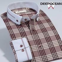 2013秋季新品 深海格子男士长袖衬衫 商务休闲男士衬衣 修身男装 价格:168.00