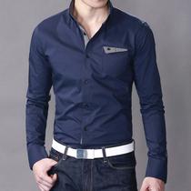暴雪 2013新款 个性牛仔拼接口袋修身 高档男长袖衬衫男 CH13002 价格:149.00