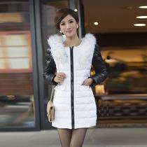 中长新款羽绒服女正品包束腰韩版拼色显瘦带毛领品质流行冬装包邮 价格:229.00
