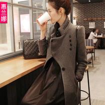新款韩版秋冬装 修身中长款 羊绒毛呢大衣 妮子大衣 羊毛呢外套女 价格:178.00