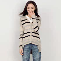所在正品 2013秋冬新款 条纹针织衫开衫 不规则摆 女长袖53130180 价格:249.00