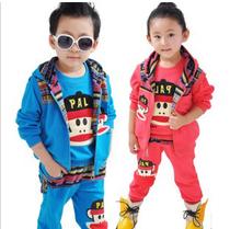 童装男童女童秋款2013新款韩版小孩衣服大嘴猴儿童运动套装三件套 价格:78.00