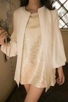2013韩版通勤雪纺拼接灯笼袖圆领气质中长款开衫宽松小外套 K11 价格:32.00