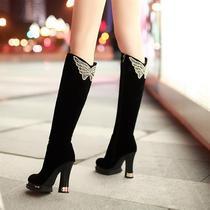 春秋季磨砂淑女靴子性感优雅气质粗跟超高跟高筒靴女式黑色长靴 价格:116.00