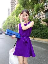 2013夏新款 韩版百搭荷叶边下摆系带无袖连衣裙 修身短裙子显瘦 价格:65.00