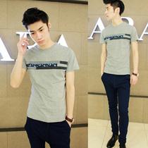 夏装新款韩版男T恤男士短袖T恤男式T恤个性布条拼接修身男装潮流 价格:45.00