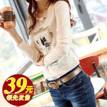 2013秋装新款t恤女长袖 韩版潮修身打底衫纯棉百搭女装女士上衣 价格:39.00