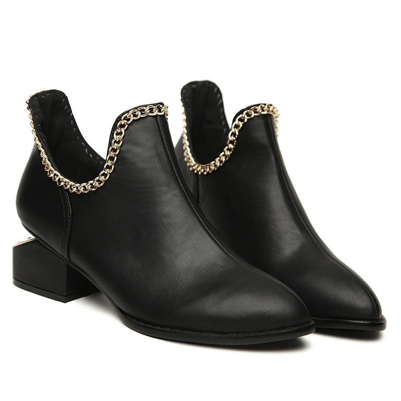 2013秋鞋 新款粗跟单鞋 欧美明星款中跟马丁短靴 尖头裸靴 女潮靴 价格:87.55