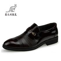 新款意大利袋鼠皮鞋 男士商务正装皮鞋真皮头层皮漆光亮面鞋子 价格:138.00