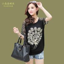韩版t恤孔雀花案袖子带蕾丝大码宽松女装上衣新款夏装显瘦潮品季 价格:48.90