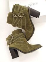 2013秋冬新款欧美时尚皮带扣磨砂皮短靴子 粗跟鞋高跟鞋女鞋 价格:388.00