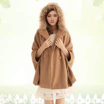 2013秋冬新款斗篷毛呢大衣女呢子大衣中长款韩版毛呢外套披肩女 价格:136.62