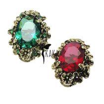 韩国stylenanda 复古宫廷公主奢华镶钻祖母绿亚克力大宝石戒指 价格:11.90
