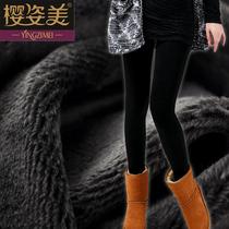 秋装女士加绒加厚外穿打底裤 黑色保暖裤子秋冬季显瘦长裤韩版潮 价格:29.90