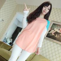 蘑菇街女装秋装新款宽松可爱少女装拼色清新打底小衫长袖原宿t恤 价格:25.00